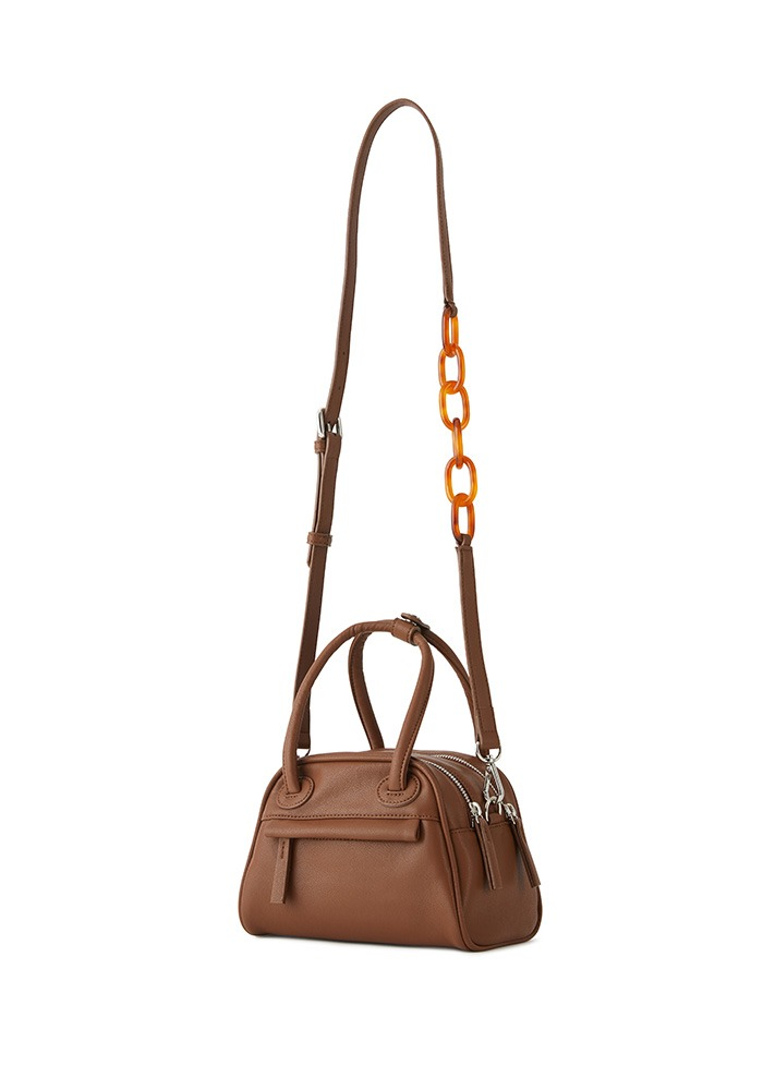 TWO ZIPPER BAG  MINI (BURNT CARAMEL)