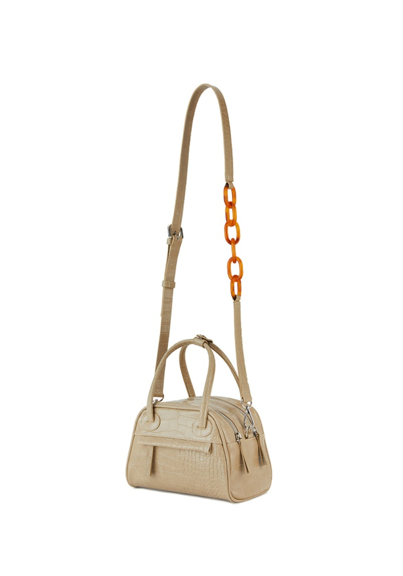 TWO ZIPPER BAG CROC MINI (CHOUX CREAM)