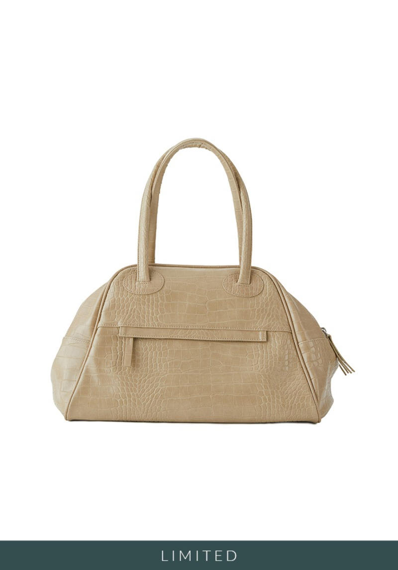 TWO ZIPPER BAG CROC ORIGINAL (CHOUX CREAM)